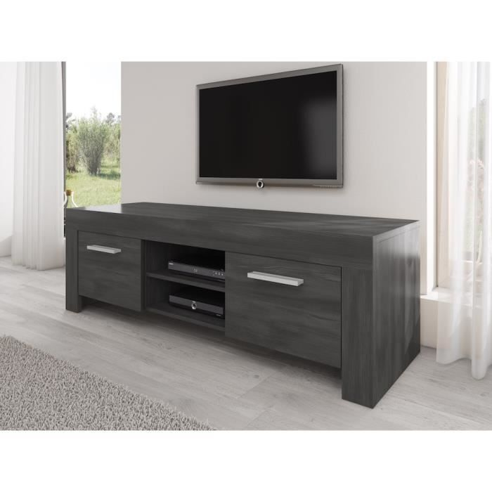 meuble tv chene noir achat vente meuble tv chene noir pas cher cdiscount. Black Bedroom Furniture Sets. Home Design Ideas