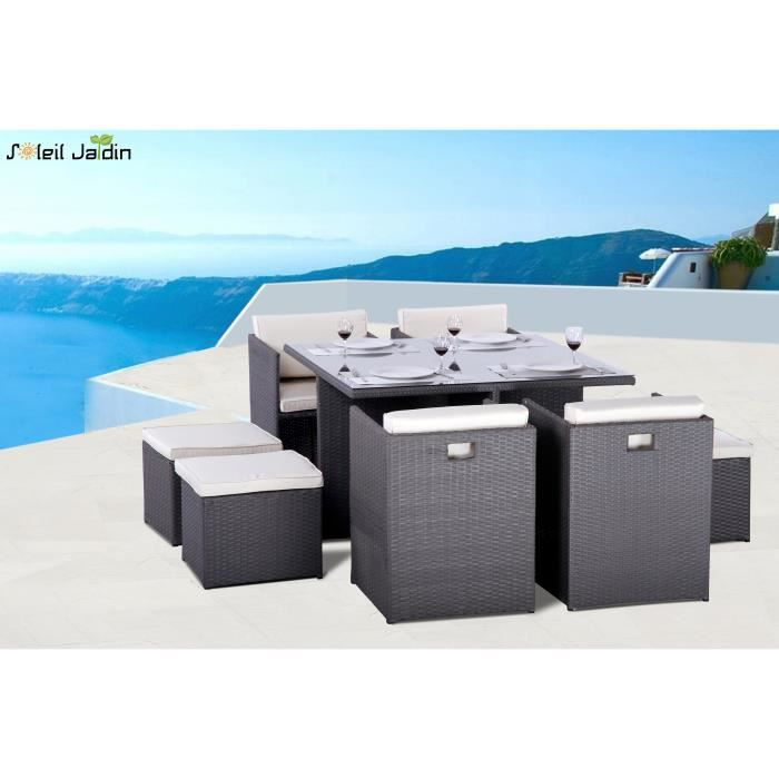 salon de jardin 8 places encastrables luco gris achat vente salon de jardin salon de jardin. Black Bedroom Furniture Sets. Home Design Ideas