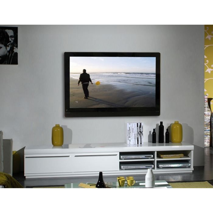 white meuble tv 220 cm blanc laqu achat vente meuble. Black Bedroom Furniture Sets. Home Design Ideas