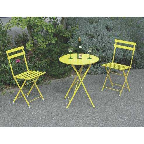 Set table 2 chaises acier poxy jaune achat vente for Ensemble table et chaise de jardin grosfillex