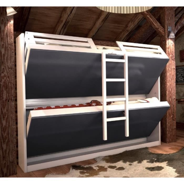 armoire lits superpos s jacquelin coloris noir achat. Black Bedroom Furniture Sets. Home Design Ideas
