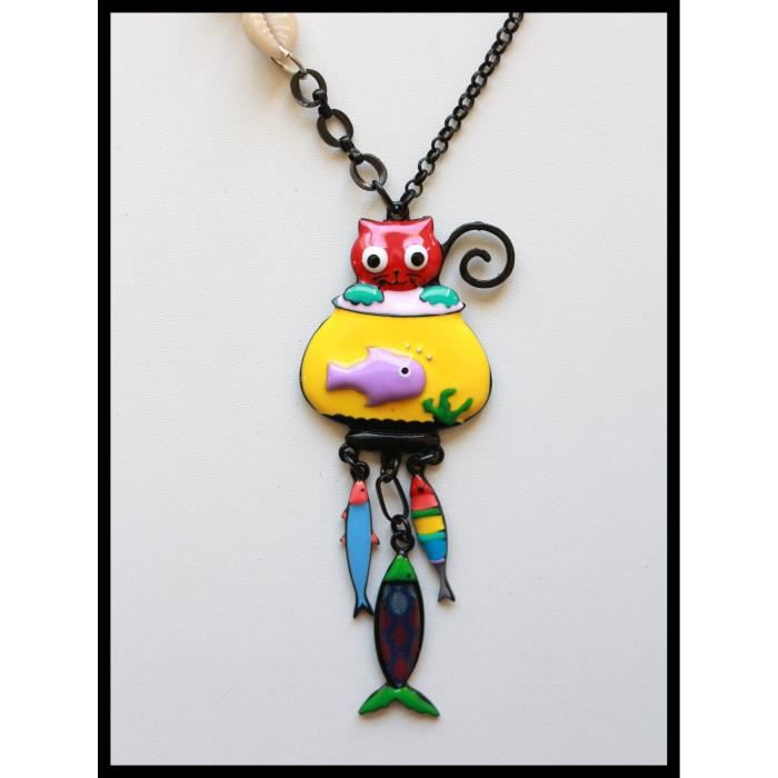 Collier bijoux lol chat bocal jaune poisson coquillage a for Bocal a poisson prix