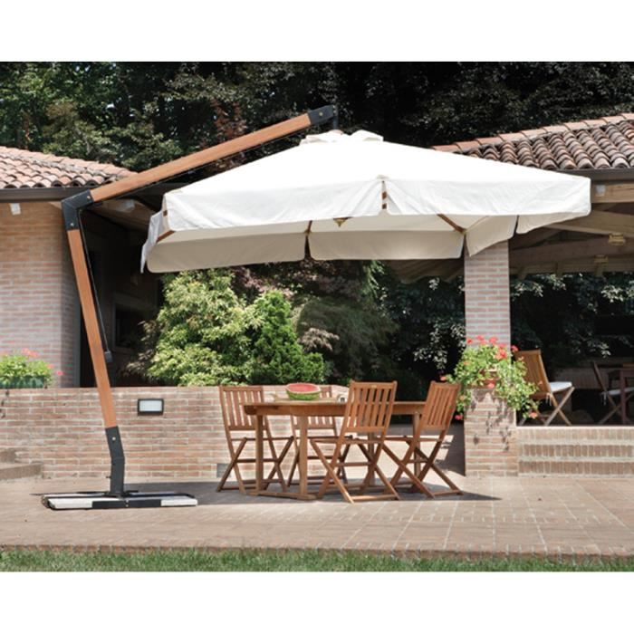 parasol d port rectangulaire 3 x 4 m en bois avec mat lat ral polyester 270 gr achat vente. Black Bedroom Furniture Sets. Home Design Ideas