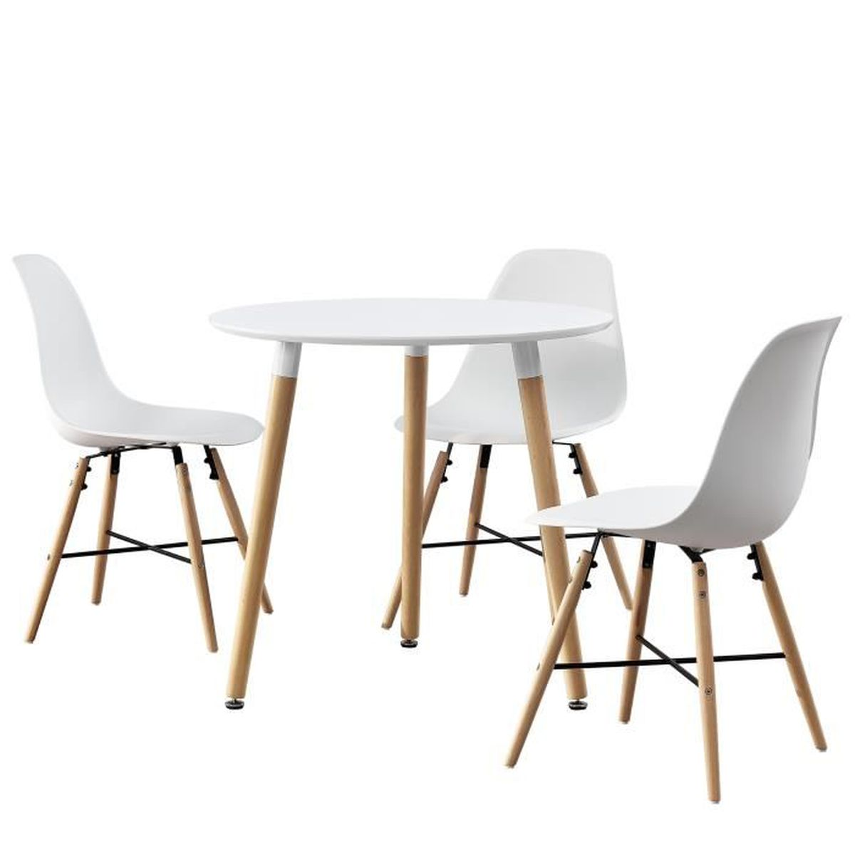 table manger ronde blanc 80cm avec 3 chaises blanc salle manger cuisine achat. Black Bedroom Furniture Sets. Home Design Ideas