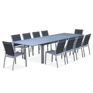 table de jardin aluminium extensible chaises achat vente pas cher. Black Bedroom Furniture Sets. Home Design Ideas