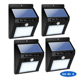 LAMPE DE JARDIN  4 Pack 30 LED Lampe Solaire Extérieur Murale avec