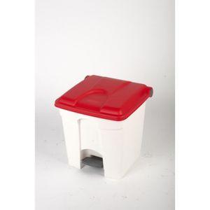 POUBELLE - CORBEILLE CONTAINER 30L blanc couvercle rouge