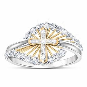 New Classic AAA Zircon Blanc 18K Or Plaqué Amoureux Fiançailles Mariage Band Ring