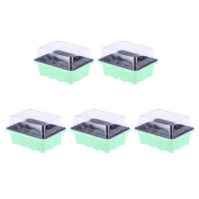 5 pièces 12 cellules plateau de semis Pots de pépinière boîte de de cultivateur de MINI-SERRE - PACK GERMINATION - PACK BOUTURAGE
