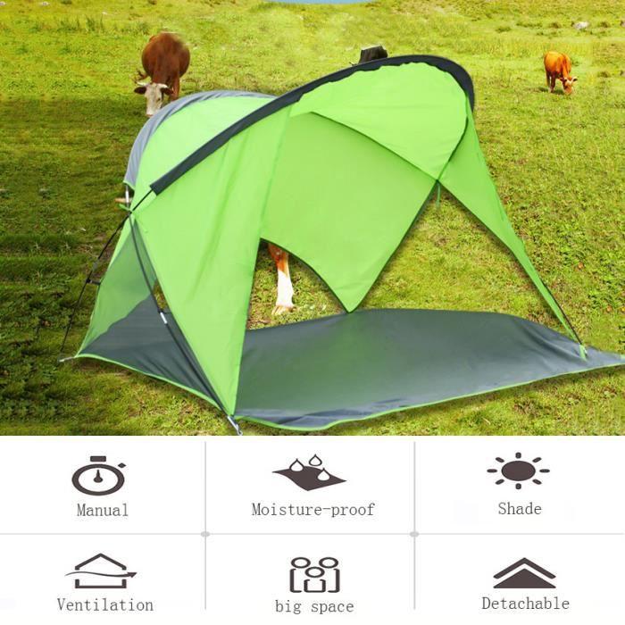 Grande tente de camping imperméable grand poteau en aluminium extérieur manuel 2-3 personnes @dra614
