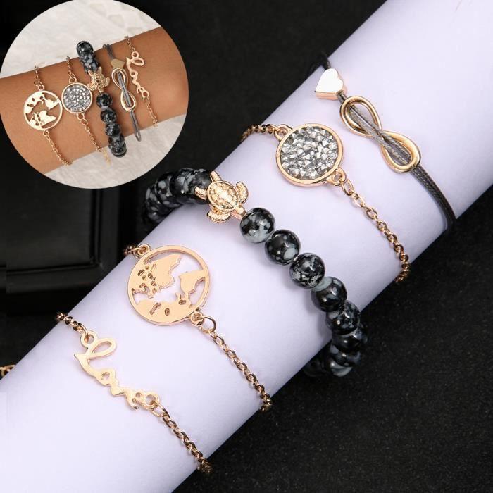 Lot de 5 Bracelets Gourmette Charme Bijoux Orné de Strass Carte du Monde Tortue Perle Love Cadeau Pr Femme Fille Moderne