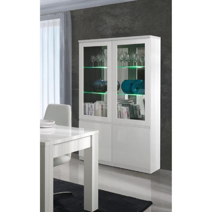 PRICE FACTORY - Vitrine, vaisselier, argentier FABIO blanc brillant high gloss + LED. Meuble design pour votre salle à manger.