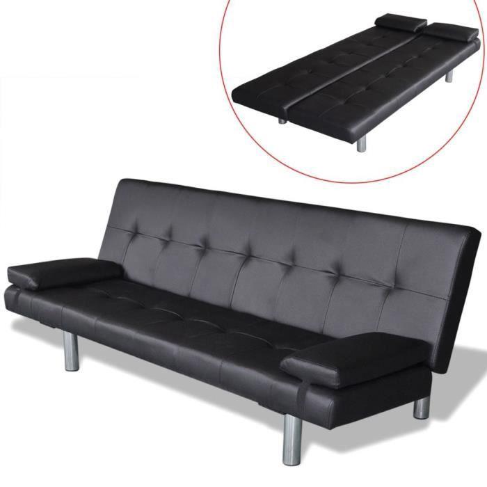 Canapé-lit réglable avec 2 oreillers Cuir synthétique Noir Canapé-lit Canapé convertible Canapé d'angle