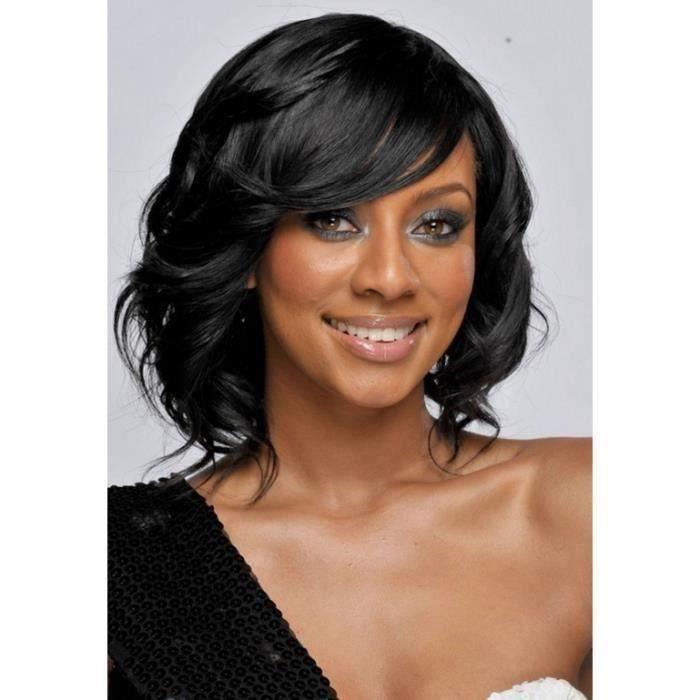 Noir Perruque de Cheveux Frisé Faux Cheveux Court Sexy Mode pour Femme Perruque Cheveux Naturels Perruque