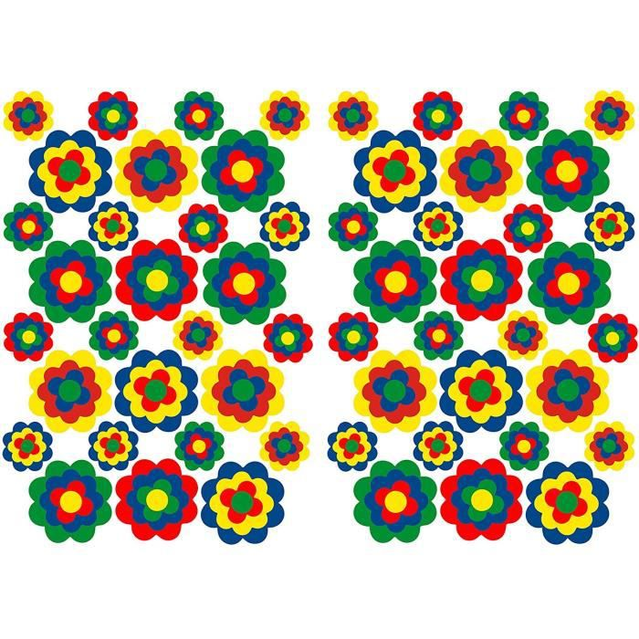 Finest Folia Lot de 56 autocollants hippie - Fleurs - Autocollants - Décoration pour voiture, vélo, bus, murs, meubles - Style r595