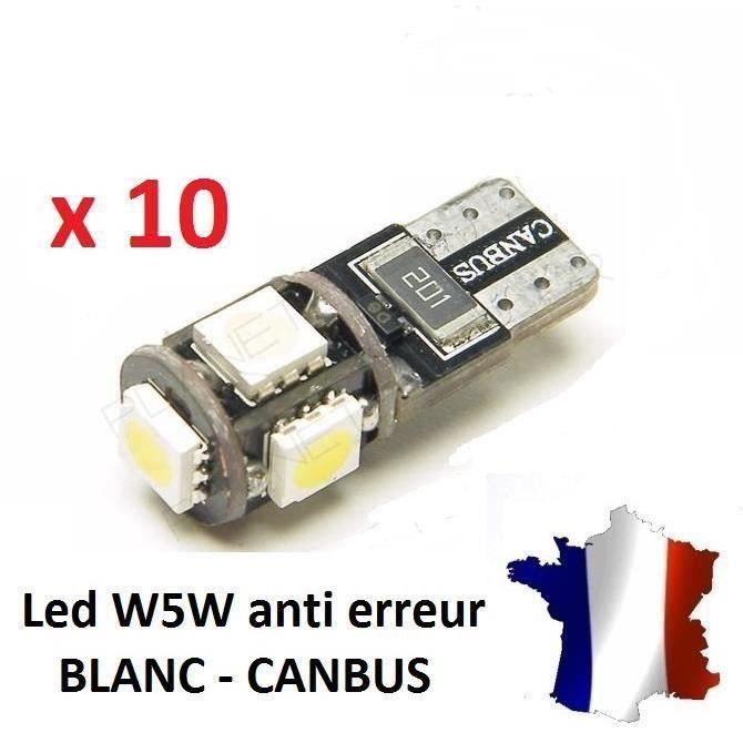 10 Veilleuses LED W5W T10 Canbus ANTI ERREUR ODB 6500k XENON 5 SMD voiture @KK
