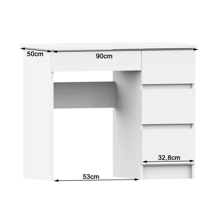 DARYA - Bureau contemporain 90x77x50 cm - 4 tiroirs larges - Table ordinateur multi-rangements - Design moderne &
