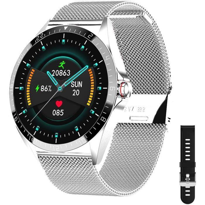 Phipuds Montre Connectée Homme Femme, Smartwatch pour téléphones Android iOS avec Moniteur De Sommeil Fréquence Cardiaque Toute La J