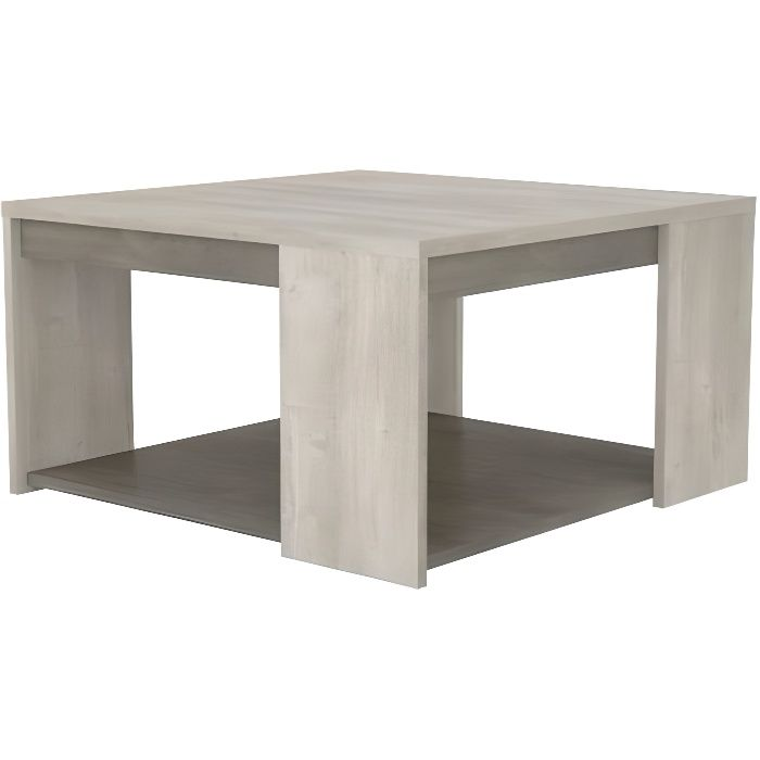 TABLE BASSE CARREE CANNES 2 PLATEAUX CHENE-BETON
