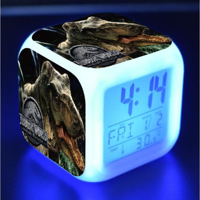 Jurassic World Lumineux LED Réveil - Heure, température, alarme, date - C