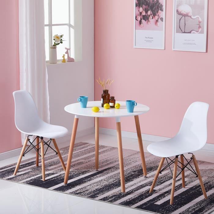 IPOTIUS Table à manger ronde design blanc,style scandinave