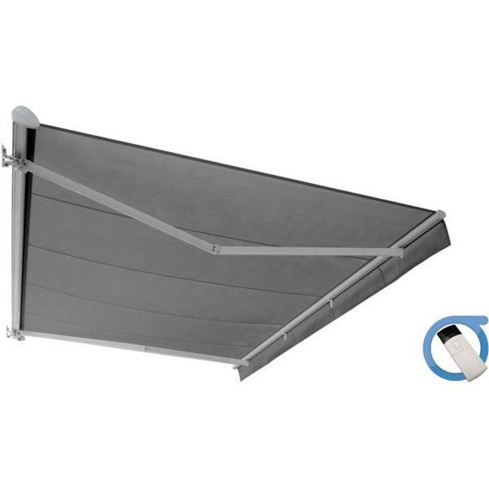 Store banne motorisé semi coffre 5x3 m gris - Structure blanche pur satinée - COVER OMBRAZUR
