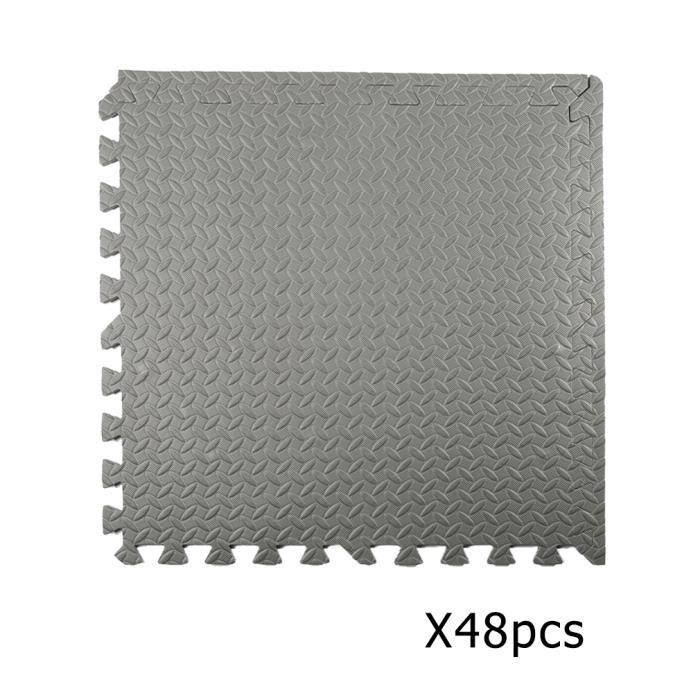 Tapis de protection de sol - 48 dalles en mousse gris - Matelas puzzle pour matériel fitness, gym, musculation
