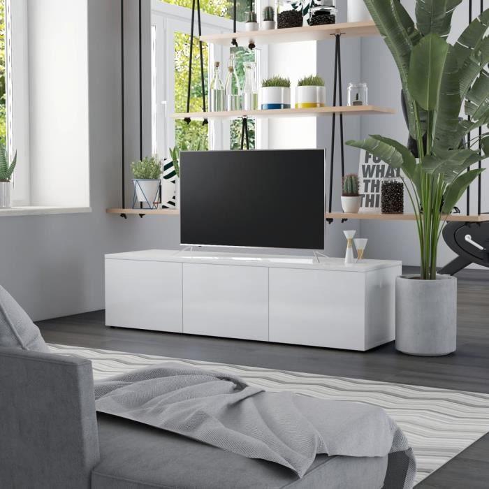 LEH Meuble TV Blanc brillant 120x34x30 cm Aggloméré
