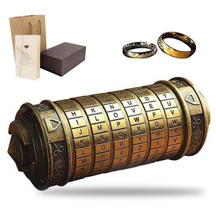 TD® Da Vinci Code Mini Cryptex avec Deux Anneaux Noël Saint-Valentin Anniversaire Cadeaux pour Petite Amie Copain (Bronze)