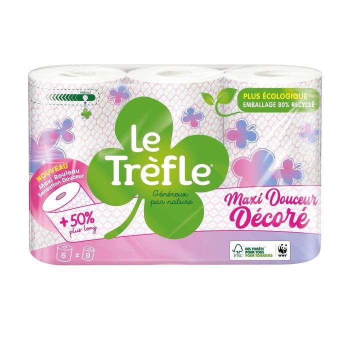 LE TREFLE Papier toilette Maxi douceur - Décoré - x6 = 9 rouleaux