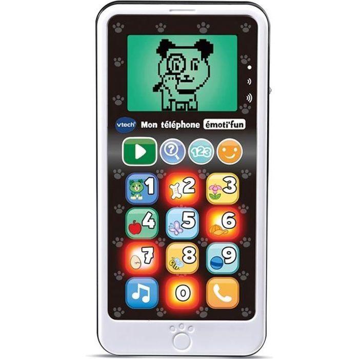 VTECH - Jouet d'Imitation Enfant - Mon téléphone émoti'fun noir & blanc