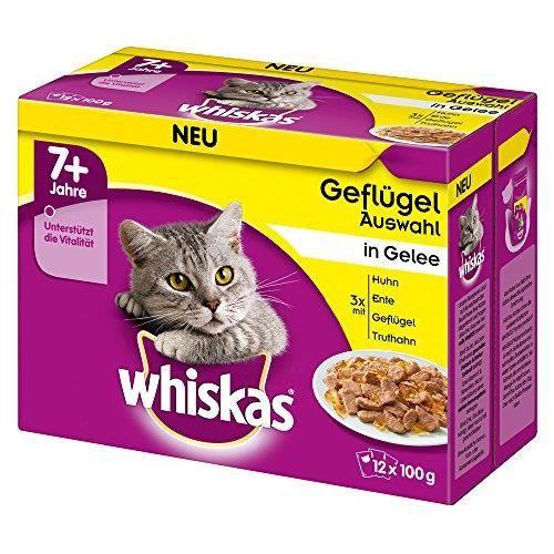 Whiskas 7 + - Nourriture pour Chat - Humide - De qualité supérieure - Différentes Saveurs - pour Un Pelage sain 4008429083785