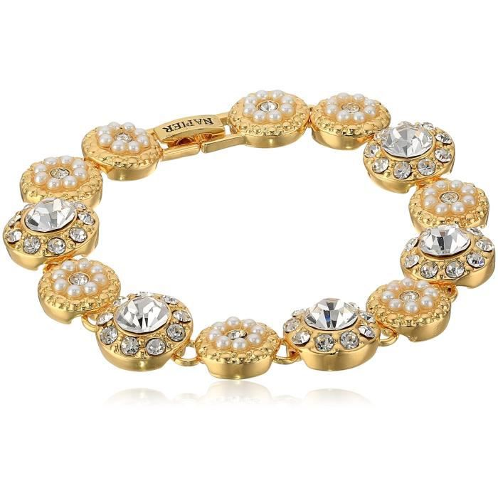 Napier Gold-tone And Pearl Boxed Pave Circle Line Tennis Bracelet H1SPC