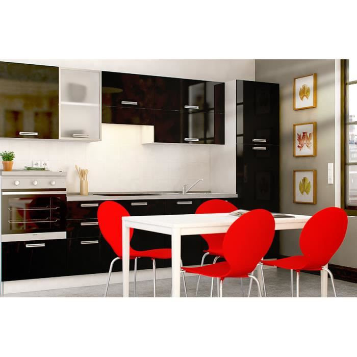 ara noir cuisine quip e tout inclus 315 cm achat. Black Bedroom Furniture Sets. Home Design Ideas