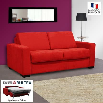 Canap 2 places convertible bultex microfibre coloris rouge louisa achat - Canape 2 places microfibre ...