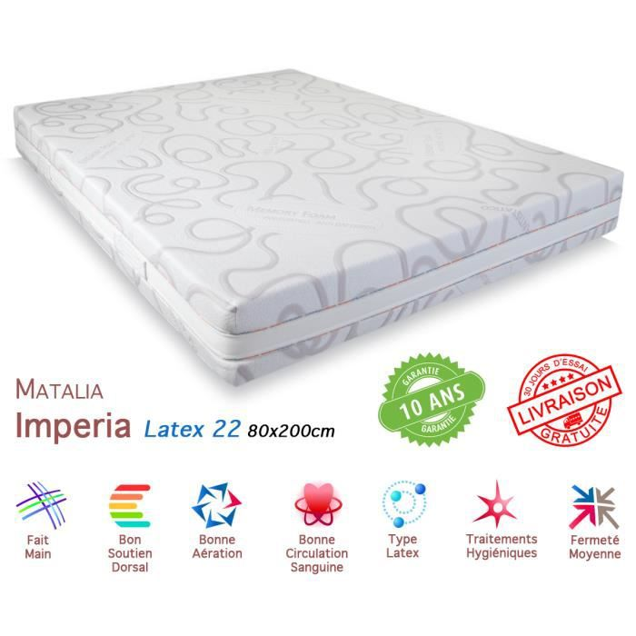 matelas matalia imperia latex 22 80x200cm achat vente. Black Bedroom Furniture Sets. Home Design Ideas