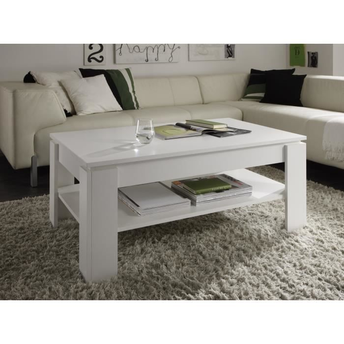 Table de salon blanc m lamine achat vente table basse for Table de salon blanc