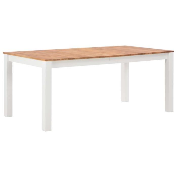 Table à manger 6 à 8 personnes - Style industriel - 180 x 90 x 74 cm -  Table Bois de chêne solide