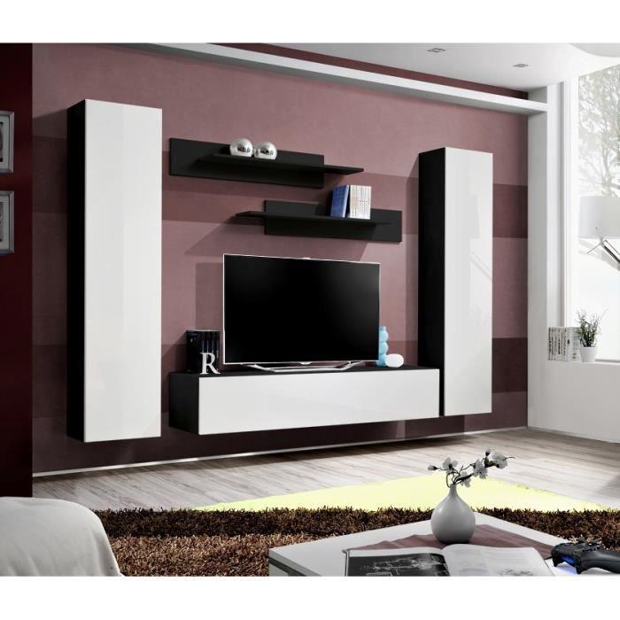 Price Factory Meuble Tv Fly A1 Design Coloris Noir Et Blanc Brillant Meuble Suspendu Moderne Et Tendance Pour Votre Salon