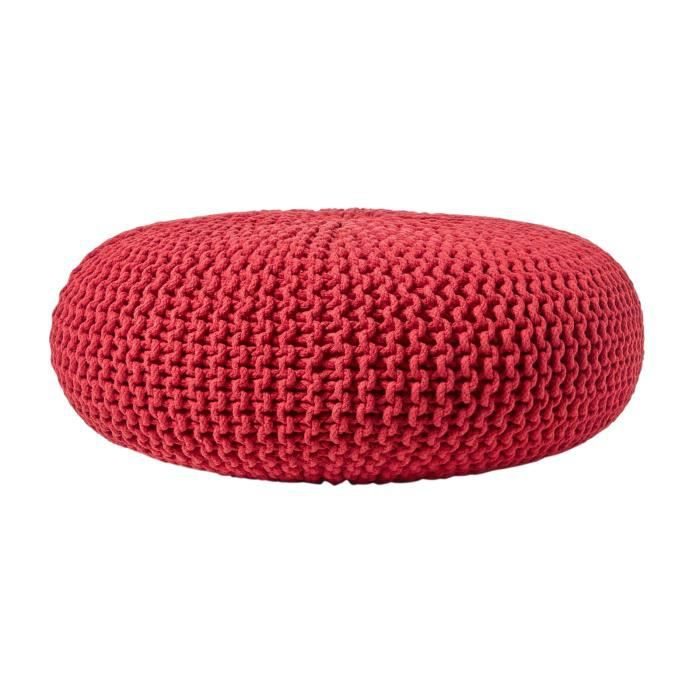 pouf en tricot rond rouge tr s grand achat vente pouf poire cdiscount. Black Bedroom Furniture Sets. Home Design Ideas