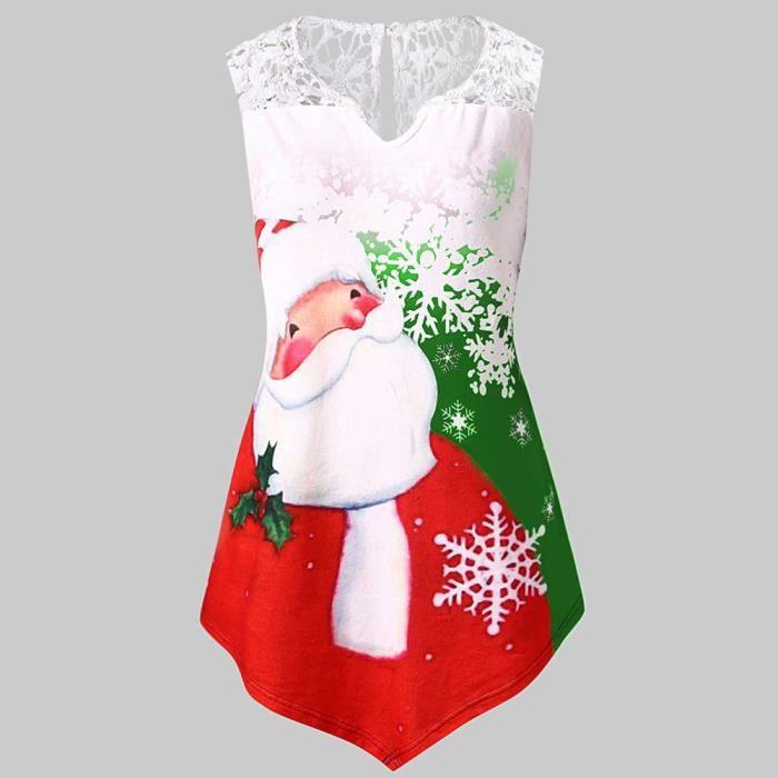 T-SHIRT HUADEDU Femmes Taille Plus Père Noël Imprimer Tuni