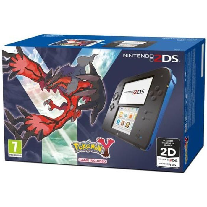 console nintendo 2ds bleu et noir jeu pokemon y achat vente console 2ds console nintendo. Black Bedroom Furniture Sets. Home Design Ideas