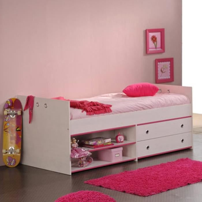 paris prix lit enfant avec tiroirs 90x190cm cameo rose ou bleu achat vente structure de. Black Bedroom Furniture Sets. Home Design Ideas