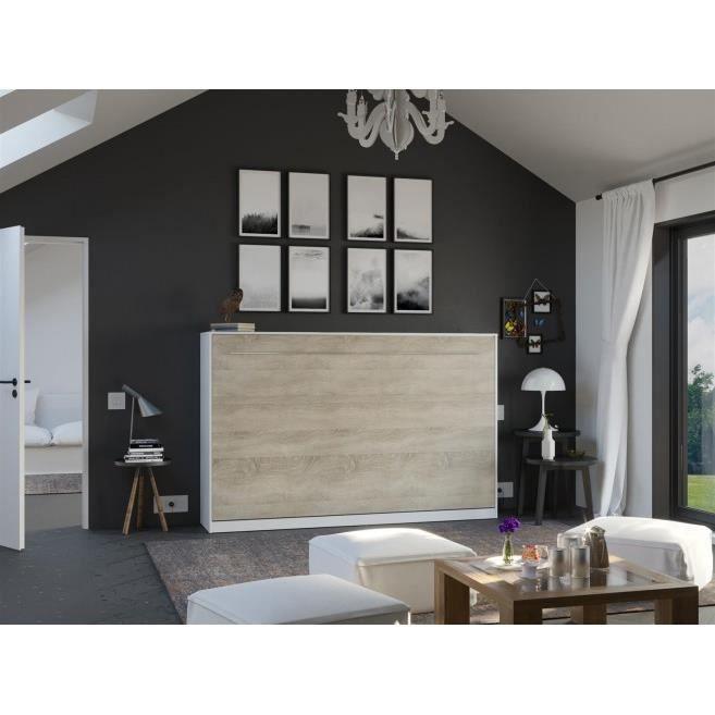 LIT ESCAMOTABLE SMARTBett Standard 120x200 horizontal blanc/chêne