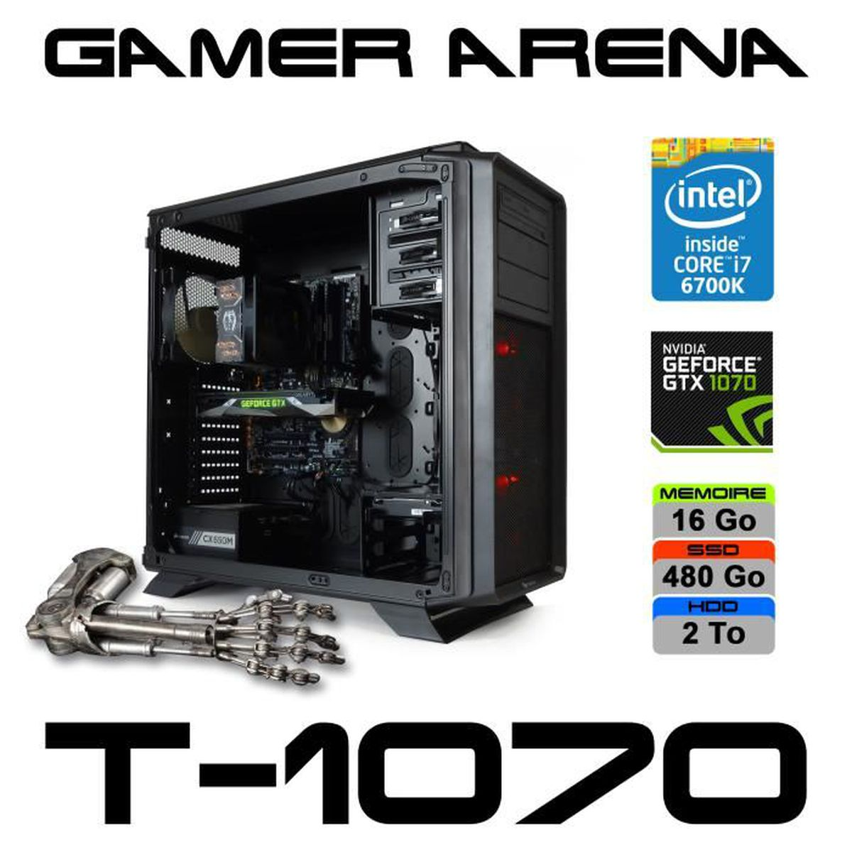 pc gamer arena t 1070 gtx 1070 core i7 6700k windows. Black Bedroom Furniture Sets. Home Design Ideas