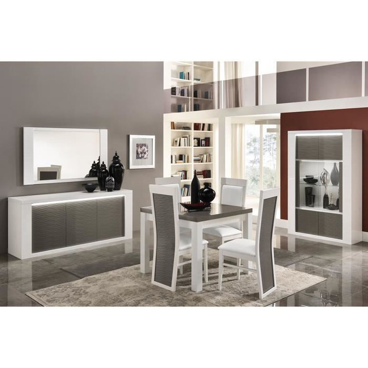 salle manger avec table carr e coloris blanc et gris laqu brillant blanc et gris achat. Black Bedroom Furniture Sets. Home Design Ideas
