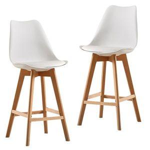 TABOURET DE BAR AG Lot de 2 chaises hautes style scandinave Blanc
