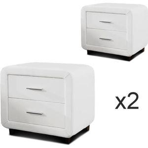 CHEVET Table chevet design ZEST Lot de 2 Blanc