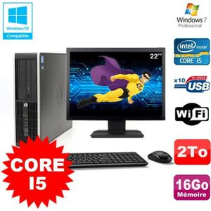 UNITÉ CENTRALE + ÉCRAN Lot PC HP Elite 8200 SFF Core I5 3.1GHz 16Go 2To D