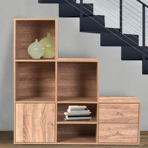 PETIT MEUBLE RANGEMENT  Meuble de rangement escalier 3 niveaux bois façon
